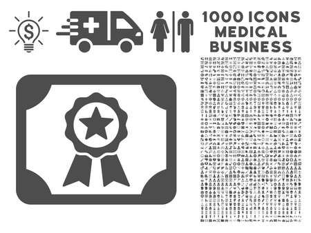 attest: Gray Certificate icon with 1000 medical business glyph pictographs. Design style is flat symbols, gray color, white background. Stock Photo