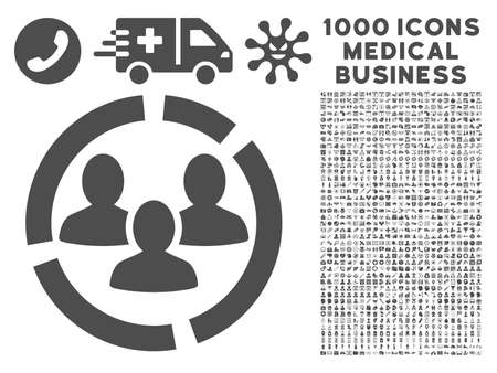 demografia: Gray Demography Diagram icon with 1000 medical business glyph pictograms. Set style is flat symbols, gray color, white background.