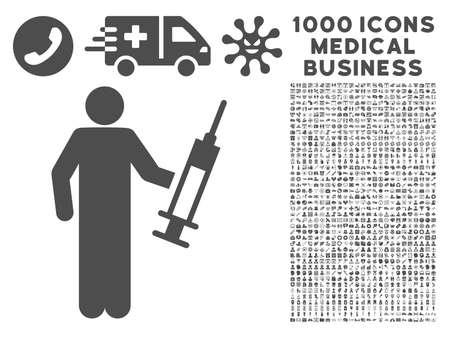 drug dealer: Gray Drug Dealer icon with 1000 medical business glyph design elements. Set style is flat symbols, gray color, white background.