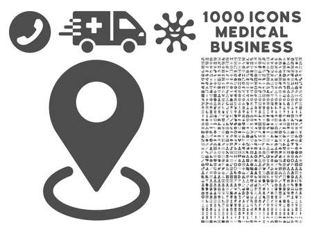 geo: Gray Geo Targeting icon with 1000 medical business glyph pictograms. Collection style is flat symbols, gray color, white background.