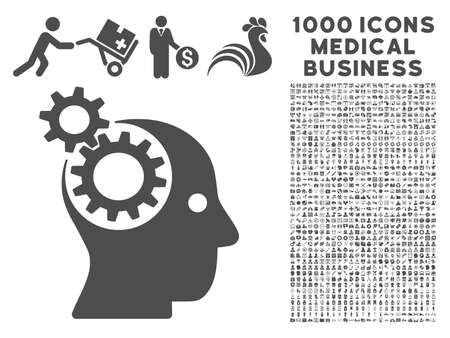 intellect: Gray Intellect Gears icon with 1000 medical business glyph design elements. Design style is flat symbols, gray color, white background.