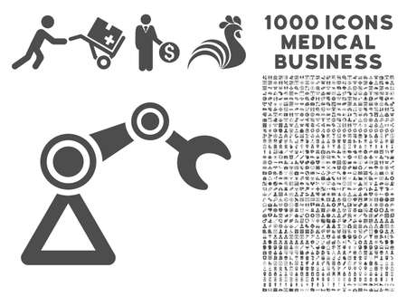 manipulator: Gray Manipulator icon with 1000 medical business glyph pictograms. Collection style is flat symbols, gray color, white background.