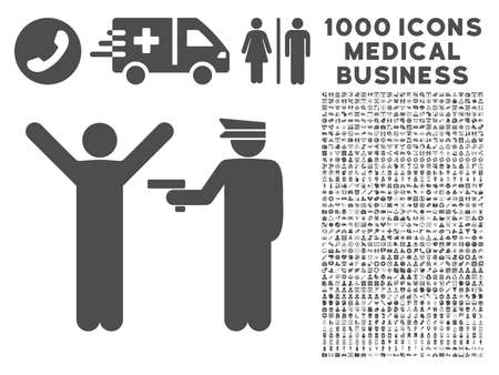 police arrest: Gray Police Arrest icon with 1000 medical business glyph pictograms. Collection style is flat symbols, gray color, white background.
