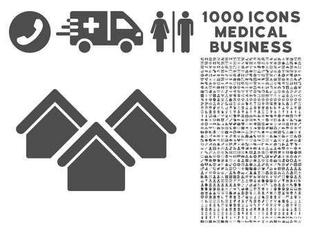 residential settlement: Gray Real Estate icon with 1000 medical business glyph pictograms. Collection style is flat symbols, gray color, white background.