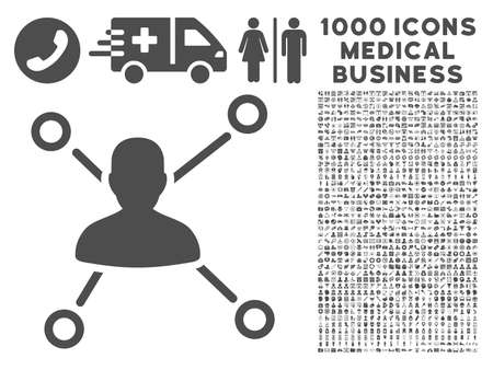 media distribution: Gray Relations icon with 1000 medical business glyph pictograms. Collection style is flat symbols, gray color, white background. Stock Photo