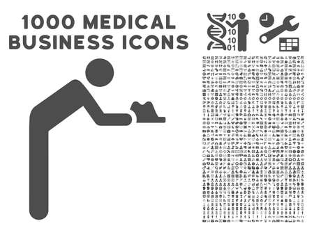 pauperism: Gray Servant icon with 1000 medical business glyph design elements. Design style is flat symbols, gray color, white background.