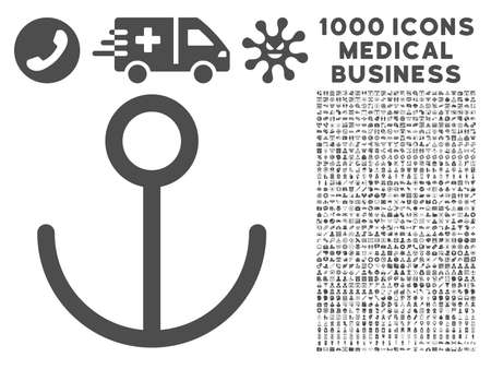 url: Gray Anchor icon with 1000 medical business vector pictograms. Design style is flat symbols, gray color, white background.