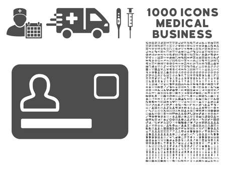 debt collection: Gray Banking Card icon with 1000 medical business vector pictographs. Collection style is flat symbols, gray color, white background.