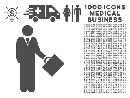 economist: Gray Businessman icon with 1000 medical business vector pictograms. Collection style is flat symbols, gray color, white background.