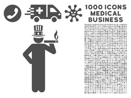 king master: Gray Capitalist icon with 1000 medical business vector pictograms. Set style is flat symbols, gray color, white background. Illustration