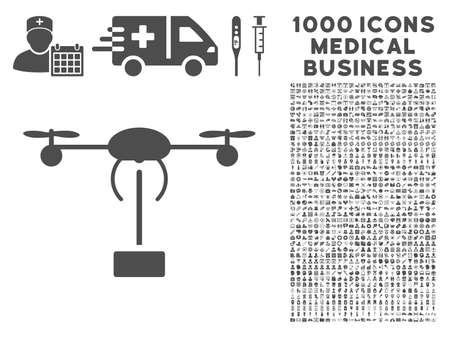 Icône d'expédition grise de copter avec 1000 éléments de conception de vecteur d'affaires médicales. Style de conception est des symboles plats, couleur grise, fond blanc.