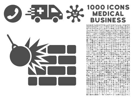 impact tool: Gray Destruction icon with 1000 medical business vector design elements. Collection style is flat symbols, gray color, white background.