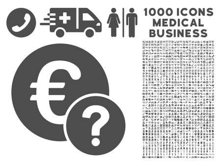 status icon: Gray Euro Status icon with 1000 medical business vector pictograms. Set style is flat symbols, gray color, white background.