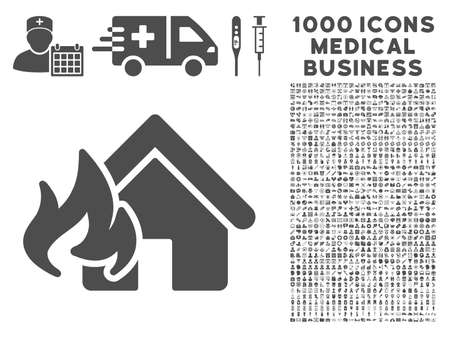 fire damage: Gray Fire Damage icon with 1000 medical business vector pictographs. Collection style is flat symbols, gray color, white background.
