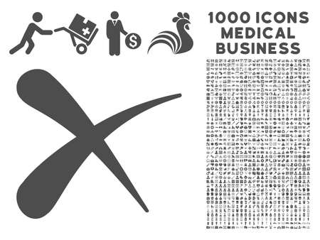 Gray Erase icon with 1000 medical business vector pictographs. Set style is flat symbols, gray color, white background. Illustration