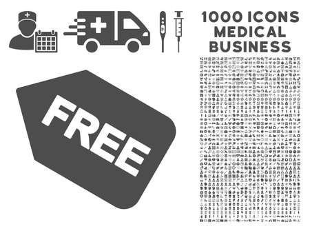 allowed to pass: Gray Free Sticker icon with 1000 medical business vector pictographs. Design style is flat symbols, gray color, white background.