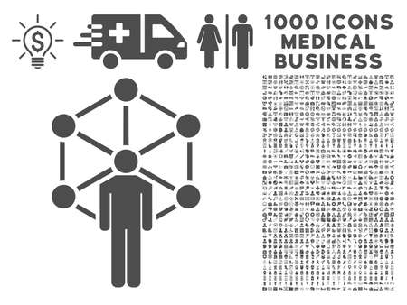 medical symbols: Gray Human Network icon with 1000 medical business vector design elements. Design style is flat symbols, gray color, white background.