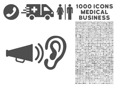 Gray Listen Sound icon with 1000 medical business vector pictograms. Set style is flat symbols, gray color, white background.