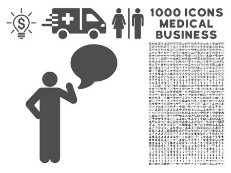 dialog baloon: Gray Man Idea Balloon icon with 1000 medical business vector pictographs. Set style is flat symbols, gray color, white background. Illustration
