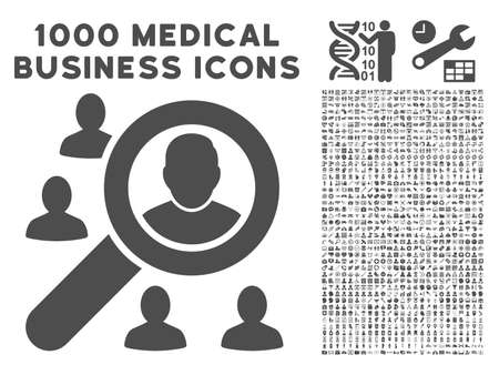 lookup: Gray Marketing icon with 1000 medical business vector pictographs. Set style is flat symbols, gray color, white background.