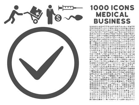 Gray Ok icon with 1000 medical business vector pictograms. Set style is flat symbols, gray color, white background.