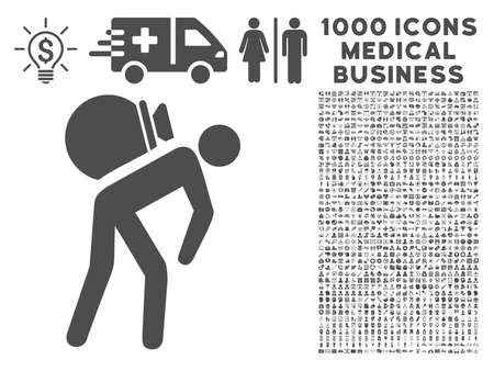 porter: Gray Porter icon with 1000 medical business vector pictograms. Set style is flat symbols, gray color, white background. Illustration