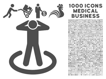prison guard: Gray Prison icon with 1000 medical business vector pictograms. Design style is flat symbols, gray color, white background.