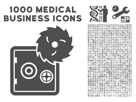 theft: Gray Hacking Theft icon with 1000 medical business vector pictographs. Set style is flat symbols, gray color, white background.