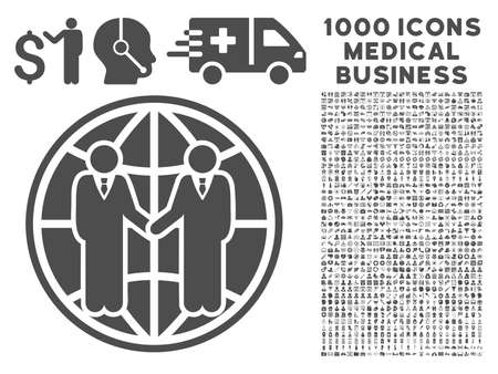 global partnership: Gray Global Partnership icon with 1000 medical business vector design elements. Set style is flat symbols, gray color, white background. Illustration