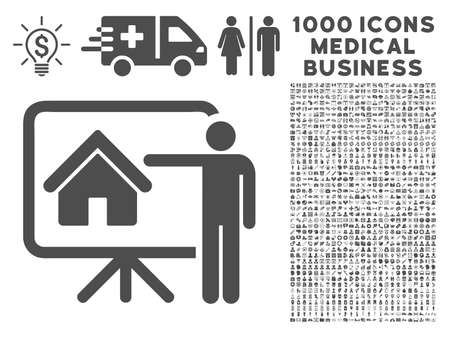realtor: Gray Realtor icon with 1000 medical business vector design elements. Set style is flat symbols, gray color, white background.
