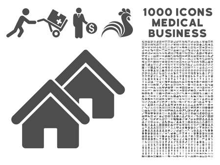 rural development: Gray Realty icon with 1000 medical business vector pictographs. Collection style is flat symbols, gray color, white background.