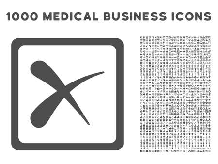 reject: Gray Reject icon with 1000 medical business vector pictograms. Set style is flat symbols, gray color, white background.