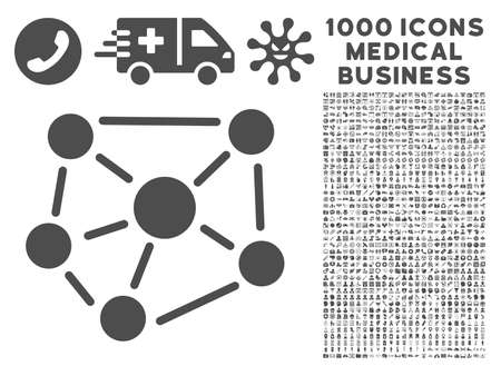 linkage: Gray Social Graph icon with 1000 medical business vector pictographs. Collection style is flat symbols, gray color, white background.