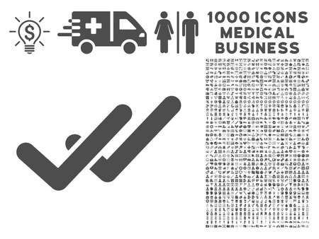validation: Gray Validation icon with 1000 medical business vector design elements. Set style is flat symbols, gray color, white background. Illustration