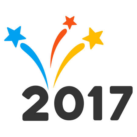 fire crackers: 2017 Fireworks icon. Vector style is flat iconic symbol on a white background.