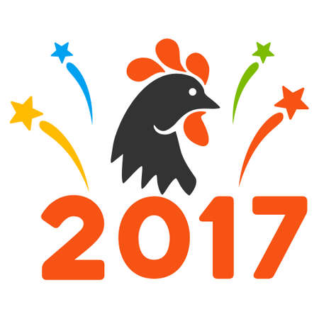 2017 Rooster Year Celebration Fireworks icon. Vector style is flat iconic symbol on a white background.
