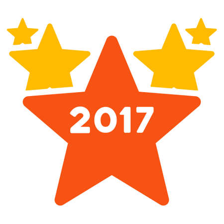 medal like: 2017 Star Hit Parade icon. Vector style is flat iconic symbol on a white background.
