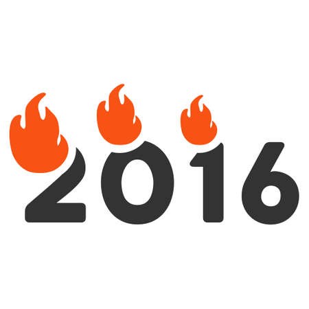 flame letters: Fired 2016 Year icon. Vector style is flat iconic symbol on a white background.