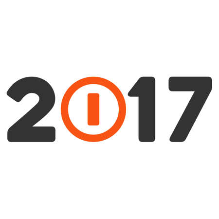 the turn of the year: Start 2017 Year Caption icon. Vector style is flat iconic symbol on a white background.