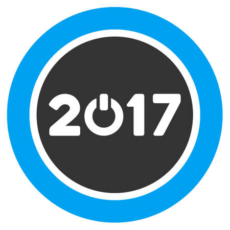 turn of the year: Start 2017 Year Round Button icon. Vector style is flat iconic symbol on a white background.