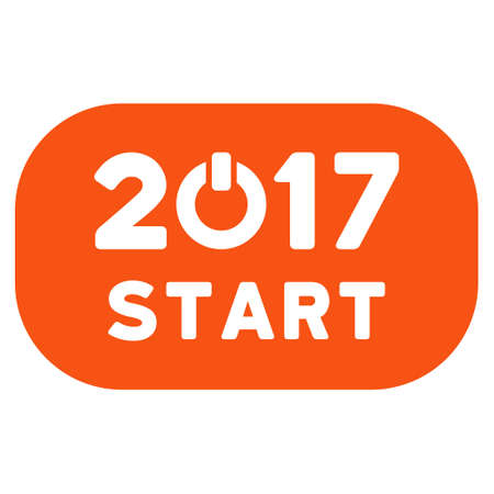 Start 2017 Year Rounded Button icon. Vector style is flat iconic symbol on a white background. Illustration