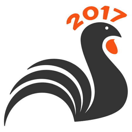 2017 Rooster icon. Glyph style is flat iconic symbol on a white background. Stock Photo