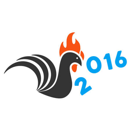 bantam hen: Rooster Banish 2016 Year icon. Glyph style is flat iconic symbol on a white background. Stock Photo
