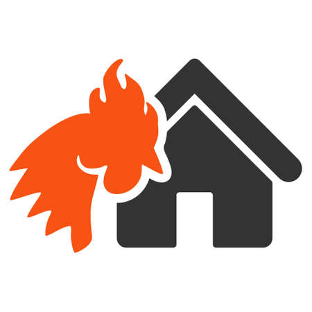 Red Rooster Realty Disaster icon. Glyph style is flat iconic symbol on a white background. Stock Photo