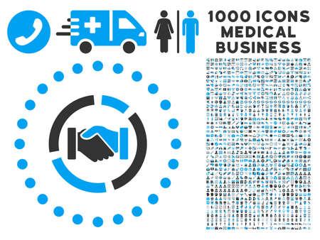 Diagramme Acquisition icône avec 1000 médicaux pictographs vecteur gris et bleu commerciaux. le style de la collection est symboles bicolor plat, fond blanc.