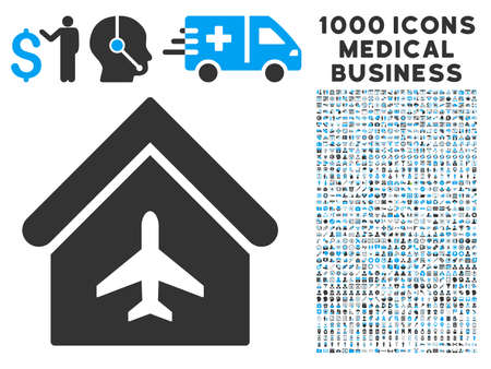 hangar: Aircraft Hangar icon with 1000 medical commerce gray and blue vector pictograms. Set style is flat bicolor symbols, white background.