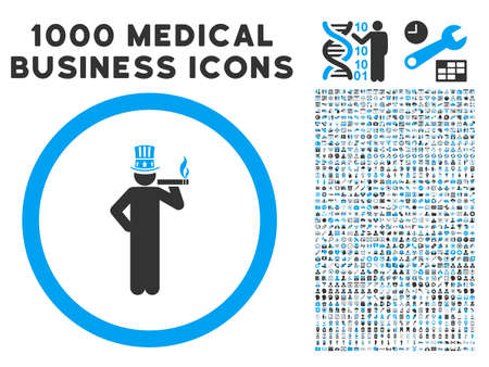 American Capitalist icon with 1000 medical commercial gray and blue vector design elements. Collection style is flat bicolor symbols, white background. Illustration