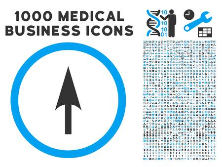 ordinate: Arrow Axis Y icon with 1000 medical business gray and blue vector design elements. Design style is flat bicolor symbols, white background. Illustration