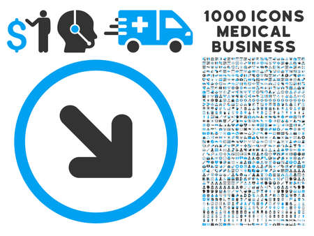 inclination: Arrow Down Right icon with 1000 medical business gray and blue vector pictographs. Collection style is flat bicolor symbols, white background.