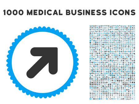 northeast: Arrow Up Right icon with 1000 medical commerce gray and blue vector pictograms. Design style is flat bicolor symbols, white background.